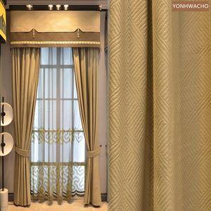 Curtain & Drapes Custom Curtains Simple Modern American Luxury Shading Flannel Yellow Velvet Cloth Blackout Valance Tulle Drape C848