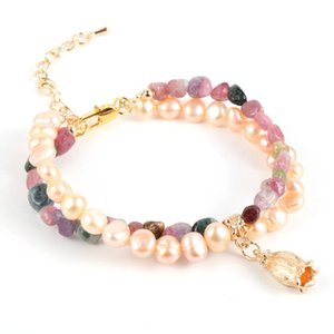 Double Layer Freshwater Pearl Colorful Natural Tourmaline Stone Bead Bracelet Women Girls Fashion Flower Charm Bracelets Jewelry