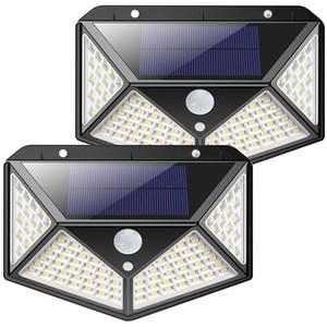 Lampes d'économie d'énergie Factory en gros 50pcs Box Nouveau 100 LED Capteur de mouvement solaire Lampe murale 600 Lumen Jardin extérieur Sécurité solaire Sécurité solaire