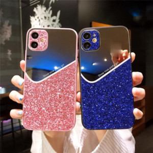 Luxury Geometry Glitter phone cover cases For iphone 12 Pro MAX mini 12 11 Pro XS MAX X XR 7 8 plus Makeup mirror back case coque capa