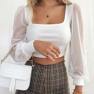 Sexy Mesh Spliced Shirt Women Long Sleeve Bustier Cropped Tube Tops Shirts Women Bare Midriff Blouse Fashion Corset Top