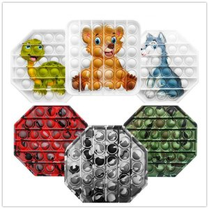Tie-Dye Push Pop It Fidget Toy Color Watermark Customizable Bubble Sensor Sensory Autism Striever Spreeze Sensory Toy for Kids GWD5225