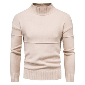 Mens Slim Fit Turtleneck Sweater Casual Cashmere Knitted Pullover Sweaters Men Solid Color Business Casual Knitwear Men Clothing