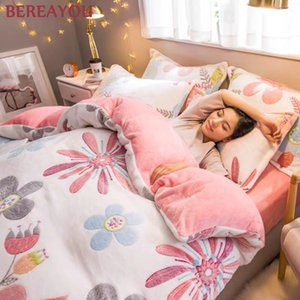 Luxury Bedding Sets Flannel Winter Thick Warm Comforter For Girls room Princess Duvet Cover Queen Size Bed Linen Wedding Bed Set C0225