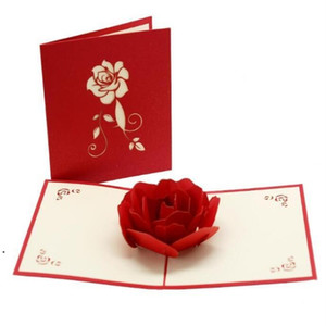 Rosa 3D Cartões Cartão Dia dos Namorados Creative Handmade Dia dos namorados Presentes para mulheres Mar GEC5978