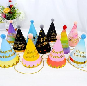 Happy Birthday Patry Hat Children's Birthday Baby Adult Party Furry Ball Birthday Hat Colorful Red Series Party Hat New Decoration SN2023
