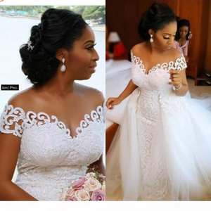African Nigerian Mermaid Wedding Dresses With Detachable Train Full Lace Applique Sheer Off The Shoulder Short Sleeve Bridal Gowns Plus Size