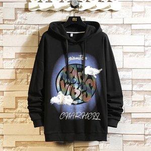 Мужские толстовки Толстовки 2021 Повседневный Классический Hip Hop Punk Rock Streetwear One Piece Марка Черный Серый