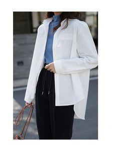 Nuevo 2021 Primavera Gurn Down Colllar Algodo Material Das Milheres Topos e Blusas Moda Feminina Camisa G02P EB00Beautiful