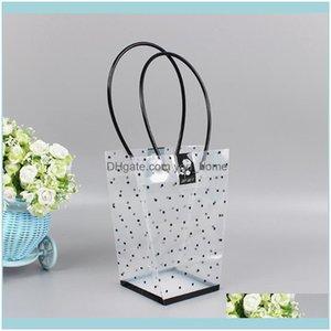 Gift Wrap Event Festive Party Supplies Home & Garden10Pcs Waterproof Transparent Wave Dot Tote Bag Bouquet Potted Suulents Portable Flower D