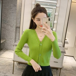 V-Neck long sleeve knitted cardigan women's spring 2021 new coat loose sweater slim fit short top