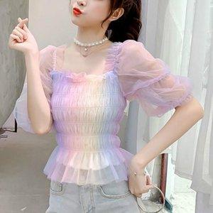 Women's Polos Rainbow Blouse Women Puff Sleeve Square Collar Lace Up Top Office Lady Summer Japan Style Kawaii Korean Chiffon
