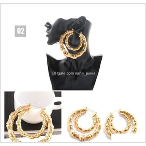 Europe And The United States Exaggerated Golden Circle Hiphop Hip-Hop Earrings Earrings Large Bamboo Earrings I66R9 Itf4W Fas5O Gjydv