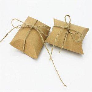Cadeau de cadeau chaud kraft oreiller boîte de papier favoriser la fête de bonbons Favor Favor Boîtes de mariage Mignon Box Sacs Fournir XSHTN