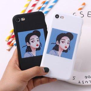 Per iPhone 11 Pro Max Custodia Case XR Funda iPhone 7 8 6S Plus X S SE 2020 Casi telefonici Carino Pattern Matte Silicone Soft Silicone Coque Girl