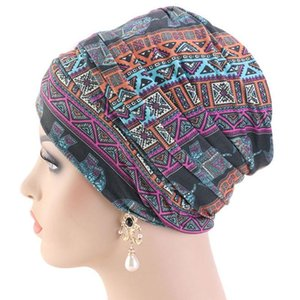 Women India Turban Hat Headwrap Muslim Long Tail Head Scarf Colorful Geometric Floral Print African Stretchy Beanie Chemo Cap