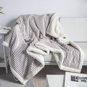 Lamb Cashmere Soft Blanket Warm Striped Bedding Sherpa Plaid Baby Receiving Blankets Outdoor Camping Rugs