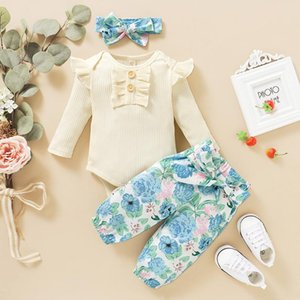 Clothing Sets 3pcs Toddler Baby Girls Outfit Suit Long Sleeve Ruffles Romper Bodysuit+Floral Pants Outfits Jumpsuit Flower
