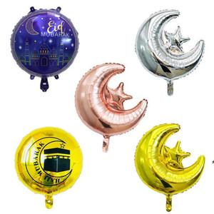 18 pollici rotondo Eid Mubarak Foil Balloons Hajj Decorazioni Mubarak Star Moon Helium Balloon Ramadan Kareem Eid AL-FITR Forniture OWD5096