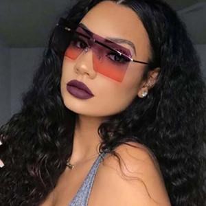 ألوان جديدة محدثة العصرية بدون شفة النساء النظارات الشمسية المتضخم مربع النظارات الملونة عدسات واحدة 14 ألوان بالجملة
