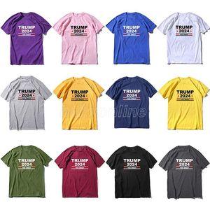 Trump 2024 Neues T-Shirt 2024 Trump T-Shirt 12 Farben Reine Baumwolle Unisex Erwachsene Top Shirts 3D Druck Kostüm Party Dekoration