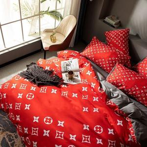 Red Designer Literie Ensembles Literie Couverture de couette Queen King Size Designer Literie Soie Moderne Devet Couvre-lit Taie d'oreiller