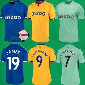 20 21 Everton Soccer Jerseys Richarlison James Rodriguez Calvertez Chemise de football Lewin 2020/21 The Toffees Hommes Football Jersey Soccer Kit de football