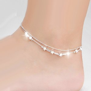 New Sexy Barefoot Jewelry Plata star beads star mix design Double-deck anklet for women girl silver color Foot Bracelet10