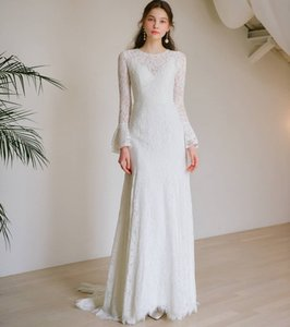 Elegant Full Lace Mermaid Wedding Dresses Bell Long Sleeve 2021 Jewel Neck Sweep Train Bride Formal Bridal Gowns Cheap Engagement Dress