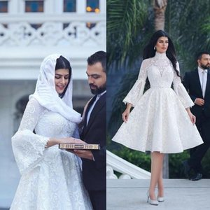 2021 Short Wedding Dresses High Neck Knee Length Long Sleeves Lace Applique A Line Arabic Dubai Custom Made Wedding Gown vestido de novia