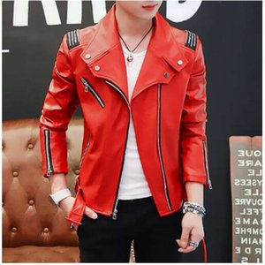 Personalized Motorcycle Mens Leather Jacket Slim Coat Jackets Oblique Zipper Jaqueta De Couro Stage Street Dance Rock Fashion