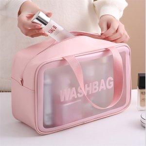 Transparent PVC Cosmetic Bag Large Capacity Wash Bag Waterproof Toiletries Organize Women Make Up Bags Portable Storage Bag C0315
