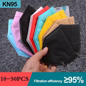 Masque KN95 Masque FFP2 Créateur Masque Visage 95% Filtrer Respirateur KN95 Masques anti-anti-anti-brume Noir gris coloré Facem masque rapide