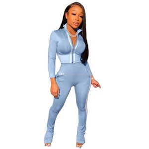 Дизайнерские наборы трексуита 2 шт. Часть полоса длинные набор брюки женские женские втулки набор втулки спортивные одежды спортивные наряды Bodycon Одежда размер женщины NWHQ