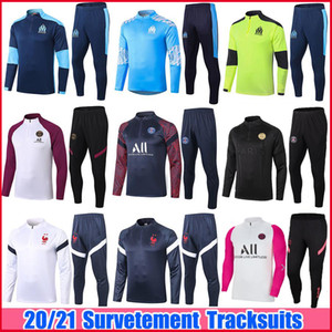 2020 2021 Real Madrid Herren Trainingsanzüge 20 21 Marseille PSG Paris St. Germain MBAPPE Survetement Kinder Fußball Trainingsanzug Maillots de Foot Chandal Kit Training Suits