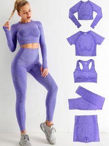 Autunm Winter Gymshark 5pcs Womens Vital Sans Seamless Yoga Set d'entraînement Sports Porter Gym Vêtements Courtes à manches longues Crop Top High Taille Leggings