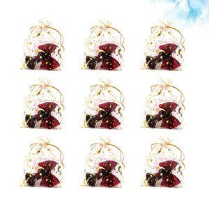 100PCS Drawstring Gift Gauze Bag Gold Stamping Star Moon Printed Storage Bag Jewelry Wrapping Multi-purpose Net Yarn for