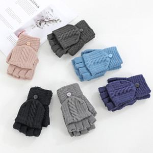 Winter Men's Gloves Adult Knitted Half Finger Warm Padded Outdoor Black Gloves DrivingTactical Gloves free shipping