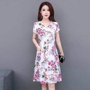 5XL Sommerkleid A-line Größe Promotion Vestidos Mujer Frauen Kleider vanled Rundhals Kurzärmelige Baumwolle gedruckt Dünngürtel