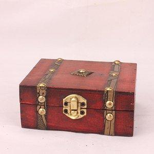 Ящики для хранения BINS 2021 Стильный старинный металлический замок декоративные украшения украшенные украшения ручной работы классический деревянный сокровищщик 3.6
