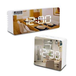 2021 Customized multifunctional LED alarm clock makeup mirror battery plug-in dual purpose bedside Single side Table Clocks