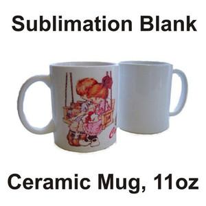 Sublimation Blanks Mug Personality Thermal Transfer Ceramic Mug 11oz White Water Cup Party Gifts Drinkware Sea Shipping WWA132