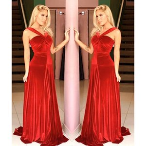 Red Velvet Evening Dresses A Line 2021 with Straps Custom Made Prom Sweep Train Ruched Pleats Plus Size Celebrity Party Gowns