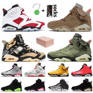 Nike Air Jordan Retro 6 6s Travis Scott Stock x Avec boîte 2021 camine jumpman 6 6S chaussures de sport pour hommes chaussures de basketball Black Infrared Rabbit Chrome