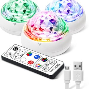 THOVAS Party Light with Remote Cont Activated, Rechargerol, Soundable, Mini size Disco Ball Light, 3 Pack