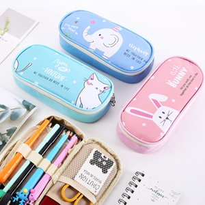 Animal pencil bags, large capacity stationery bag, PU student pencils case 4 colors