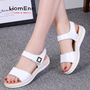 Ladies Summer Sandals Women Shoes Flats Platform Sandals 2021 New Leather White Shoes For Woman Slippers Designer zapatos mujer