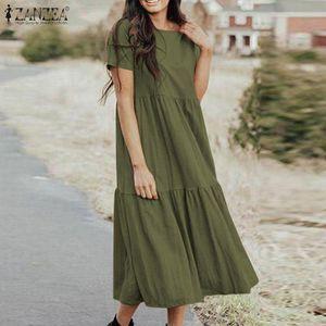 Casual Dresses Fashion Ruffle Dress Women's Summer Sundress 2021 ZANZEA Short Sleeve Midi Vesdtidos Female O Neck Robe Oversized