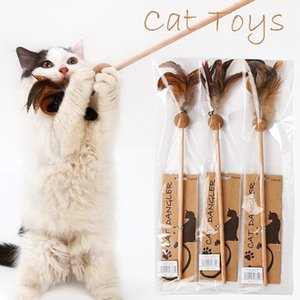 1PCS Hot Sale Cat Toys Make A Cat Stick Feather With Small Bell Catnip Molars Ball Like Birds Random Color Black Coloured Pole