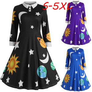 Fashion Womens Sun And Moon Star Print Dress With Botton Ladies Long Sleeve Flare Vintage Dress Women Medieval Robe